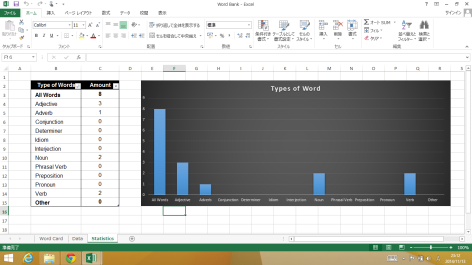 Screenshot of Word Bank made in Excel 2013