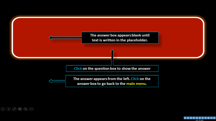 The question card in the slide show view - PowerPoint