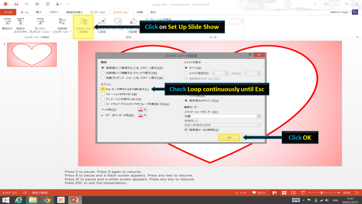 Screenshot of 'Set up slide show' dialog - PowerPoint 2013