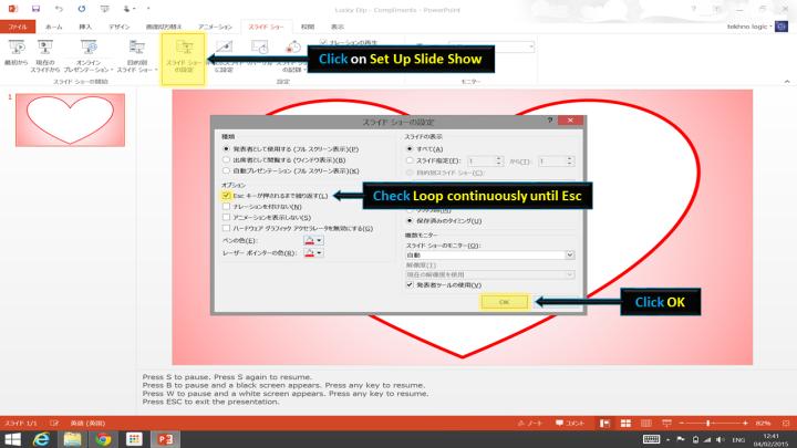 Screenshot of 'Set up slide show' dialog - PowerPoint 2013