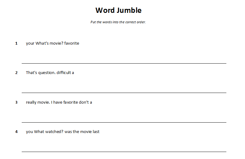 Worksheets Jumbled Words Examples word jumble practicing sentence structures tekhnologic sentences example