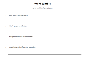 Word Jumble - Sentences