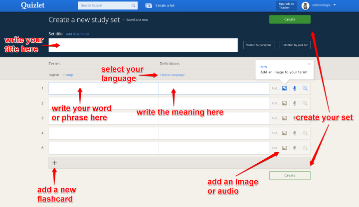 Create a Quizlet Set - Information Screen