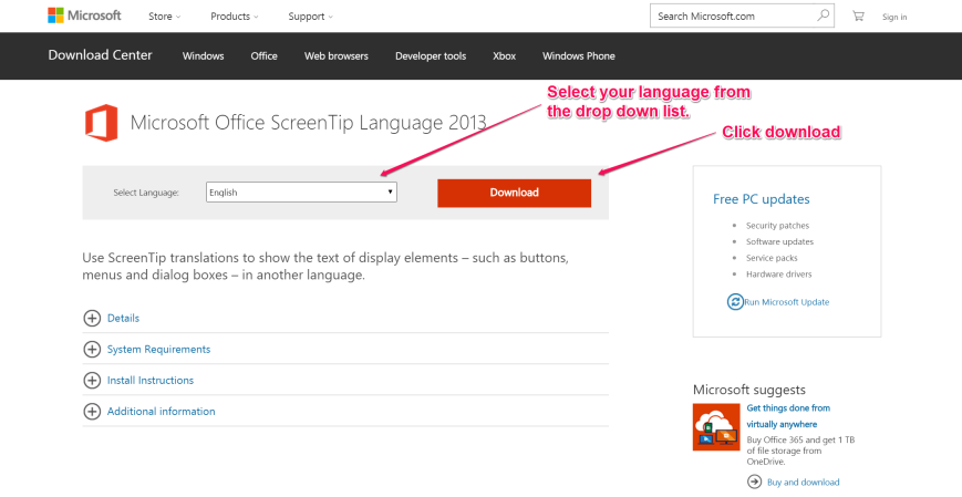 Download Screentips in a new language