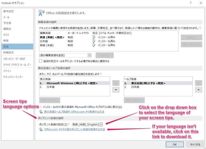 Outlook Language Options