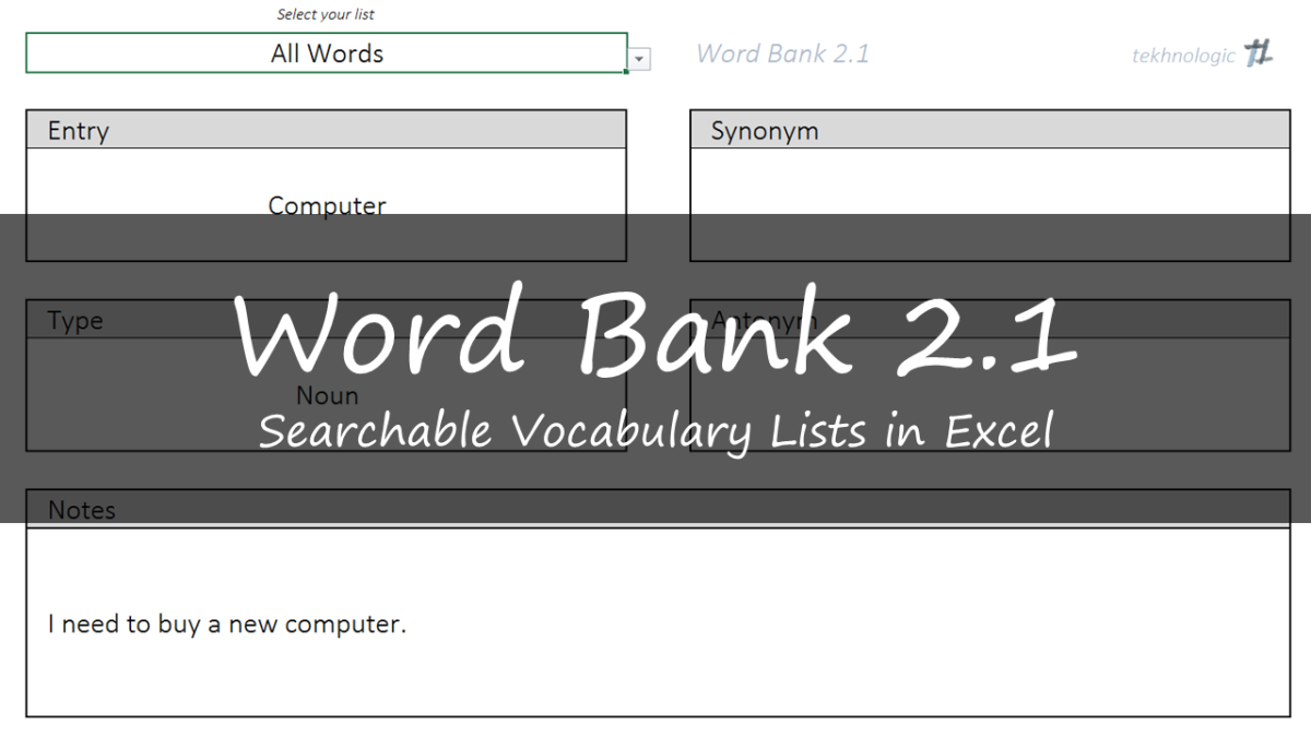 Word Bank 2.1 - Vocabulary Lists in Excel