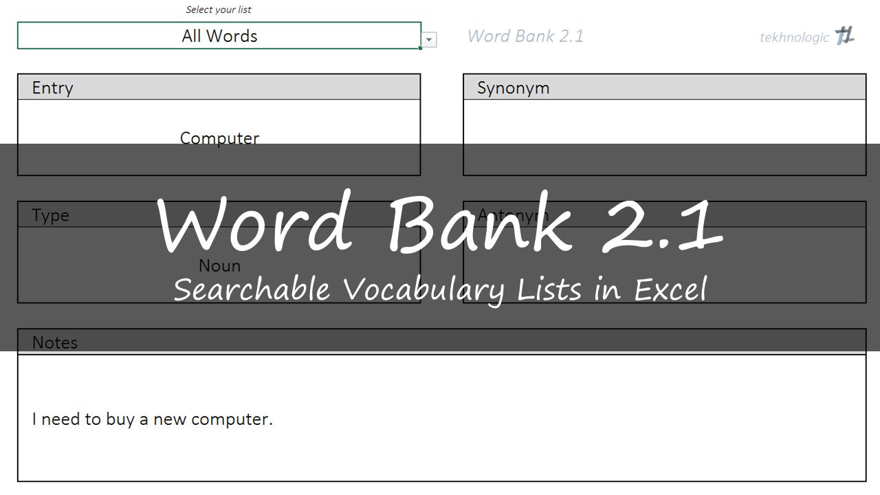 Word Bank 21 Vocabulary Lists In Excel Tekhnologic