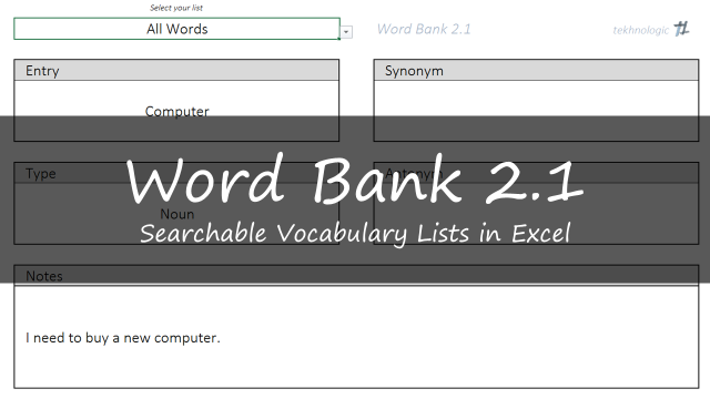 Word Bank 2.1 – Vocabulary Lists in Excel – tekhnologic