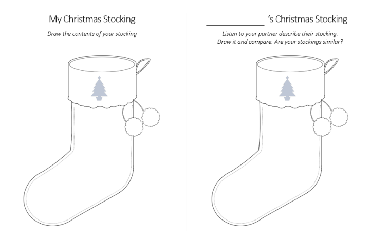 Christmas Stockings - Say and Draw Activity
