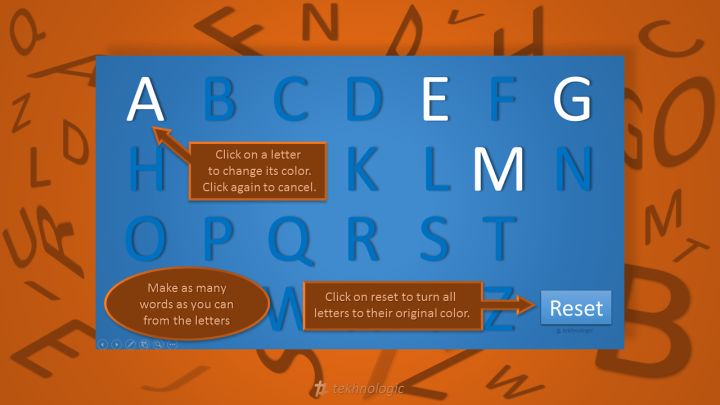 Alphabet Game in PowerPoint