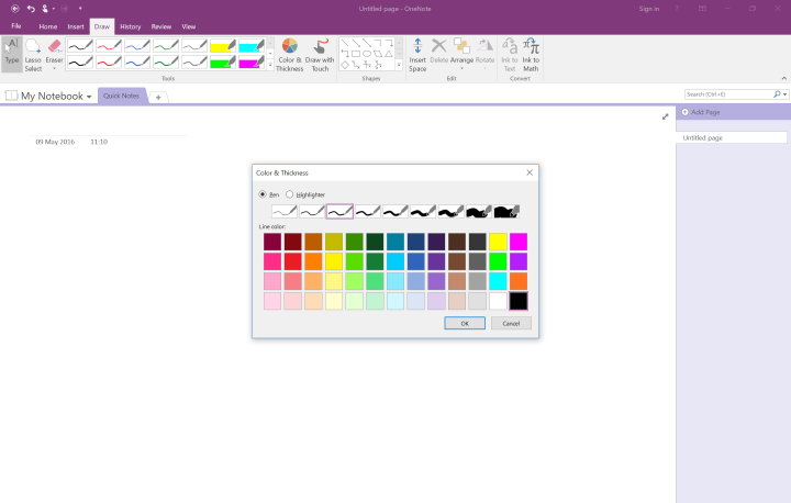 Colors in OneNote